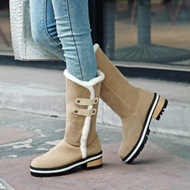 Ericdress Plain Round Toe Block Heel Slip-On Women's Snow Boots