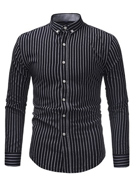 Ericdress Vertical Striped Lapel Button Down Mens Slim Shirts