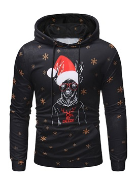 Ericdress Christmas Printed Hooded Pullover Mens Casual Hoodies
