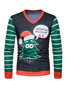 Ericdress Cartoon Printed V-Neck Christmas Mens Christmas Sweatshirts