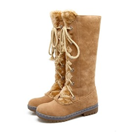 Ericdress Plain Round Toe Lace-Up Women's Snow Boots