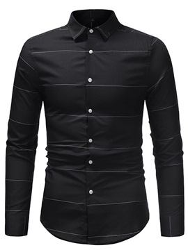 Ericdress Striped Plain Slim Mens Casual Dress Shirts