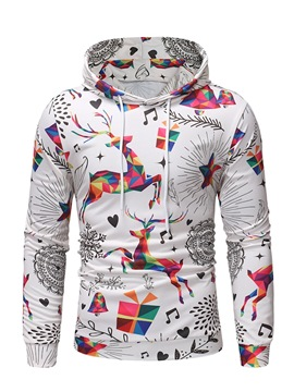 Ericdress Animal Geometric Christmas Print Pullover Mens Casual Hoodies
