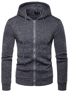 Ericdress Plain Hooded Slim Zipper Mens Cardigan Hoodies