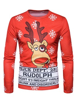 Ericdress Christmas Cartoon Printed Mens Slim Sweatshirts