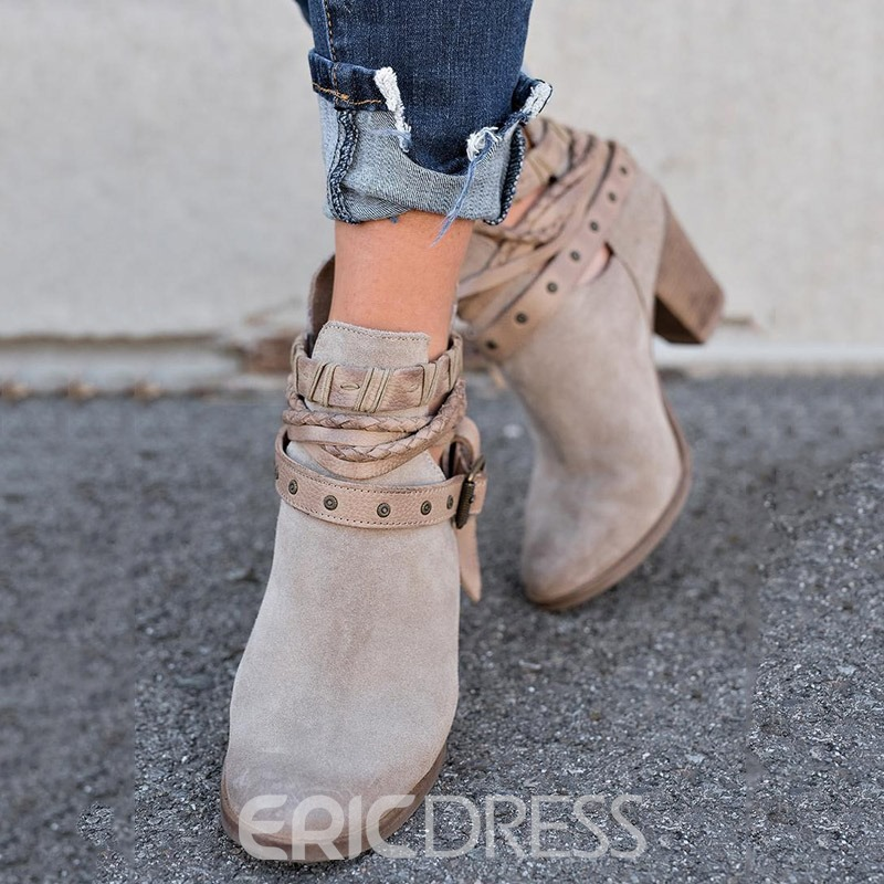 Ericdress Rivets Round Toe Chunky Heel Women's Ankle Boots