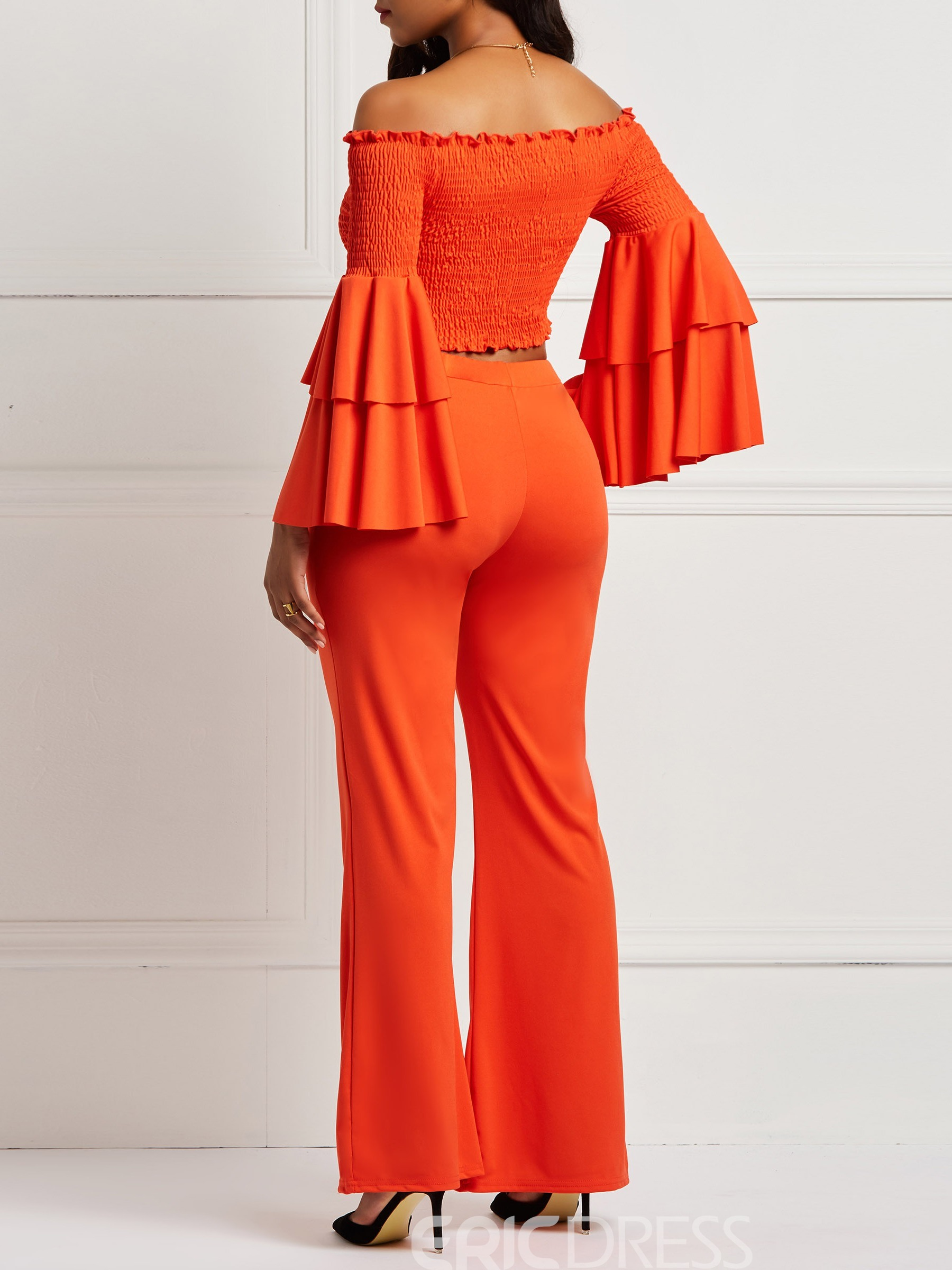 Ericdress Pleated Flare Sleeve Pocket T-Shirt and Wide-Leg Pants