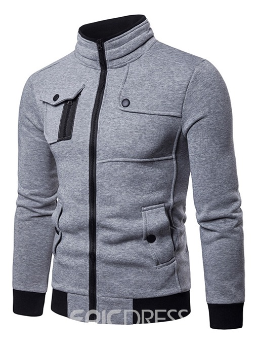 Ericdress Plain Patchwork Pocket Zipper Mens Cardigan Hoodies