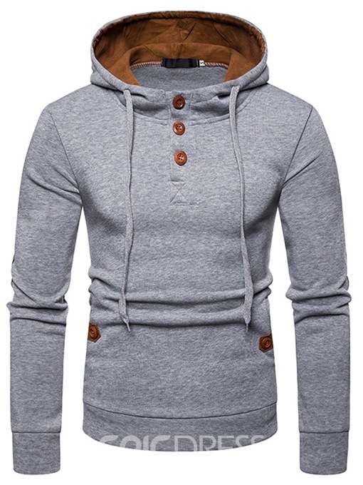 Ericdress Plain Button Hooded Pullover Mens Casual Hoodies