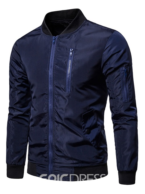 Ericdress Plain Zipper Stand Collar Mens Casual Jacket
