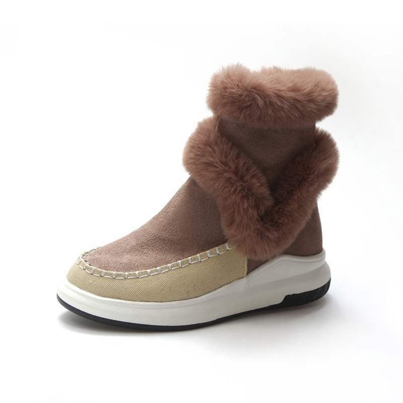Ericdress Color Block Round Toe Slip-On Women's Snow Boots