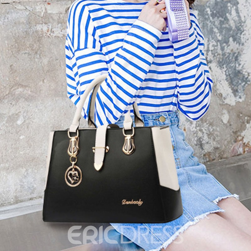 Ericdress Color Block PU Square Tote Bags