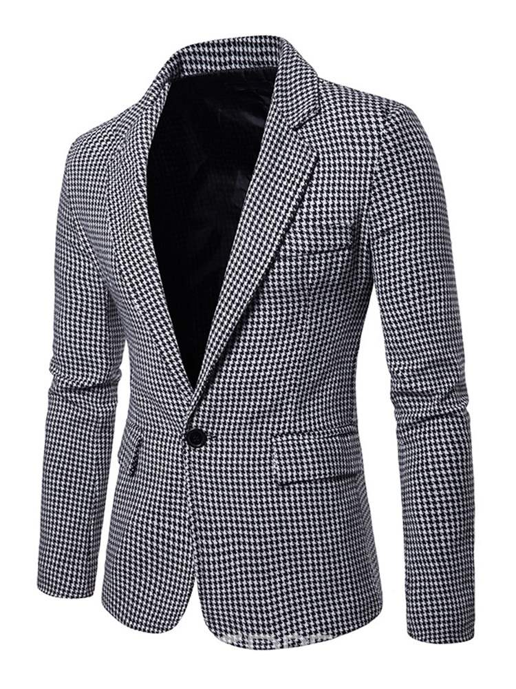Ericdress Plaid Notched Lapel Mens Casual Blazer