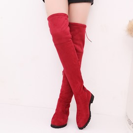 Ericdress Round Toe Lace-Up Block Heel Over The Knee Boots