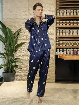 Ericdress Print Lapel Long Men's Pajama Set