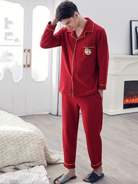 Ericdress Animal Single-Breasted Long Men's Pajama Set