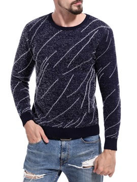 Ericdress Striped Scoop Slim Mens Casual Sweater