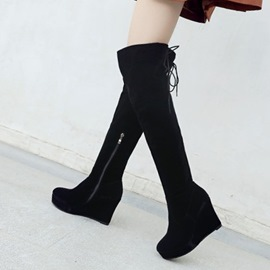 Ericdress Round Toe Wedge Heel Over The Knee Boots