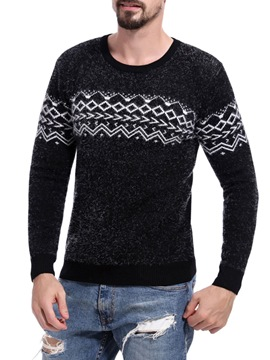 Ericdress Patchwork Scoop Slim Mens Casual Sweaters