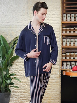 Ericdress Stripe Single-Breasted Long Men's Pajama Set