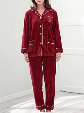 Ericdress Single-Breasted Velvet Long Women's Pajama Set