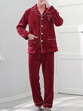 Ericdress Letter Lapel Velvet Simple Men's Pajama Set