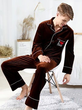 Ericdress Letter Lapel Velvet Long Men's Pajama Set