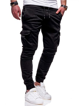 Ericdress Plain Mid Waist Men's Casual Pants