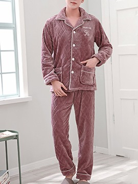 Ericdress Lapel Velvet Long Men's Pajama Set