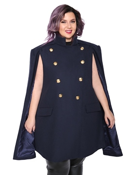 Ericdress Cape Double-Breasted Button Mid-Length Turtleneck Overcoat