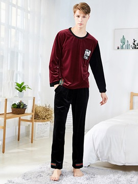 Ericdress Round Neck Pullover Long Sleeve Simple Men's Pajama Set
