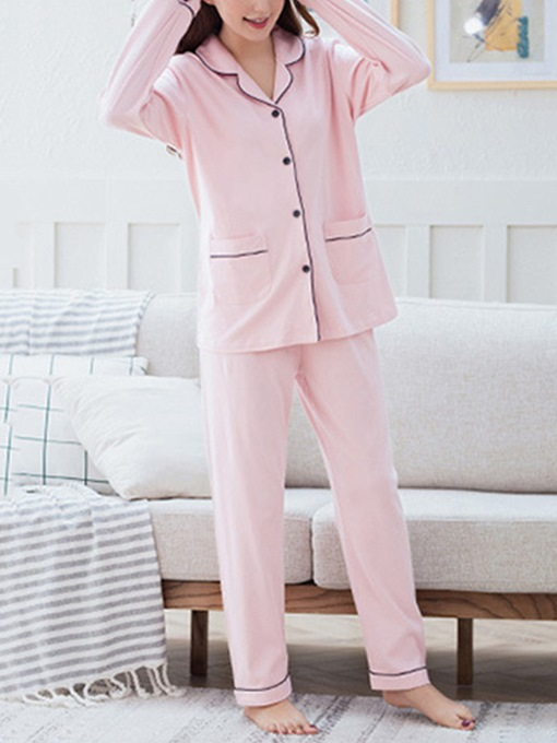 Ericdress Lapel Pocket Simple Women's Pajama Set