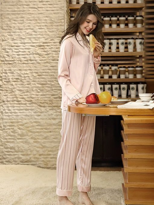 Ericdress Stripe Single-Breasted Long Pajama Set for Women