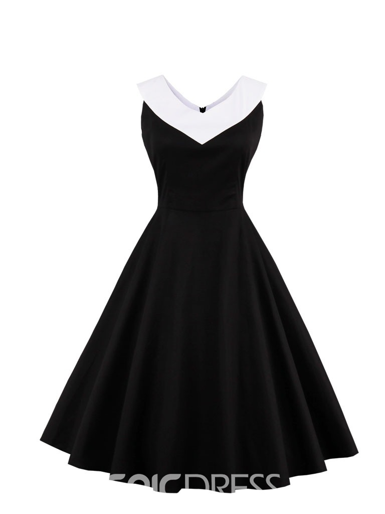 Ericdress V Neck Zipper-Up A Line Cocktail Dress