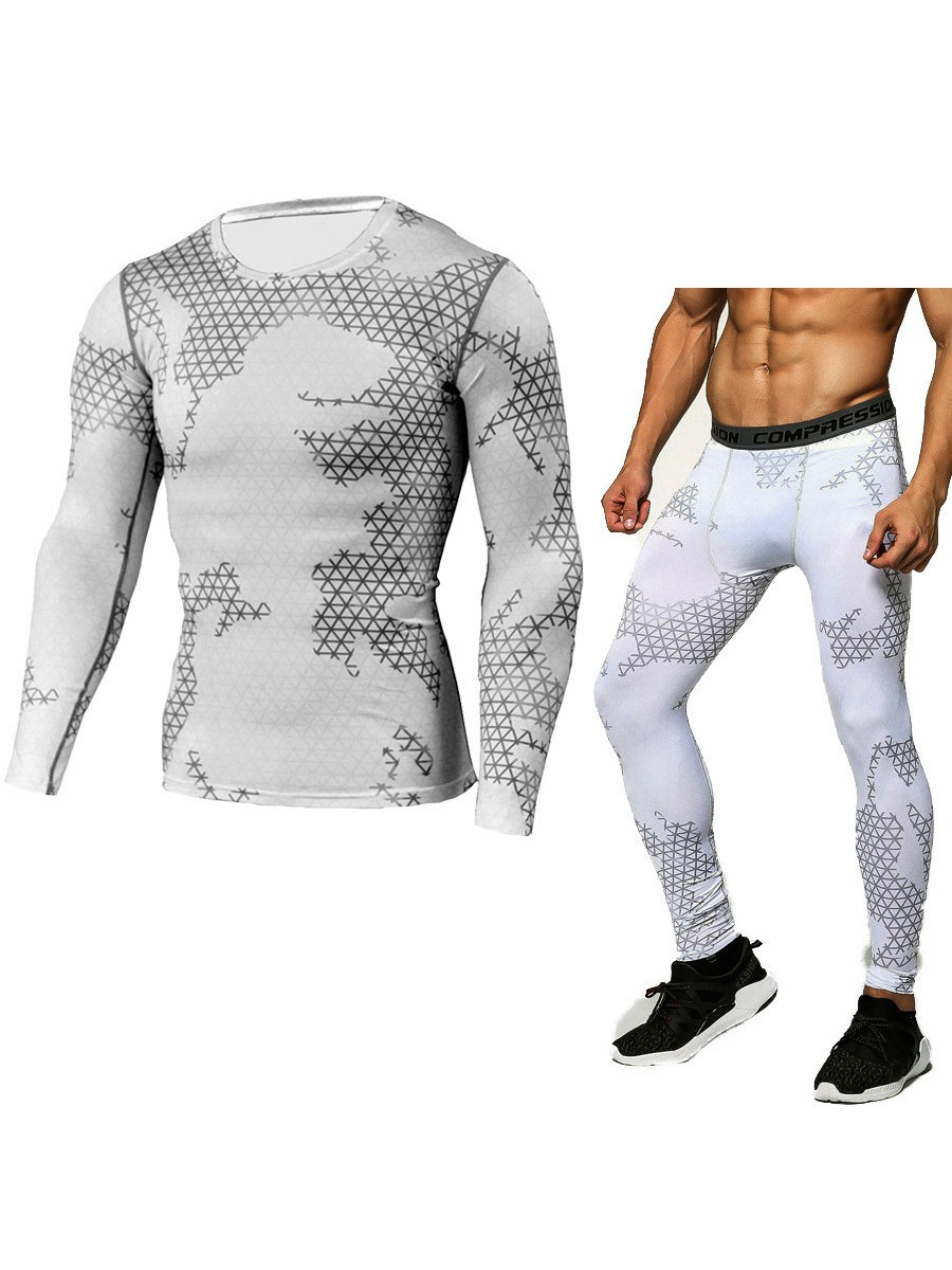 Ericdress Men Print Breathable Full Length Pullover Sport Sets