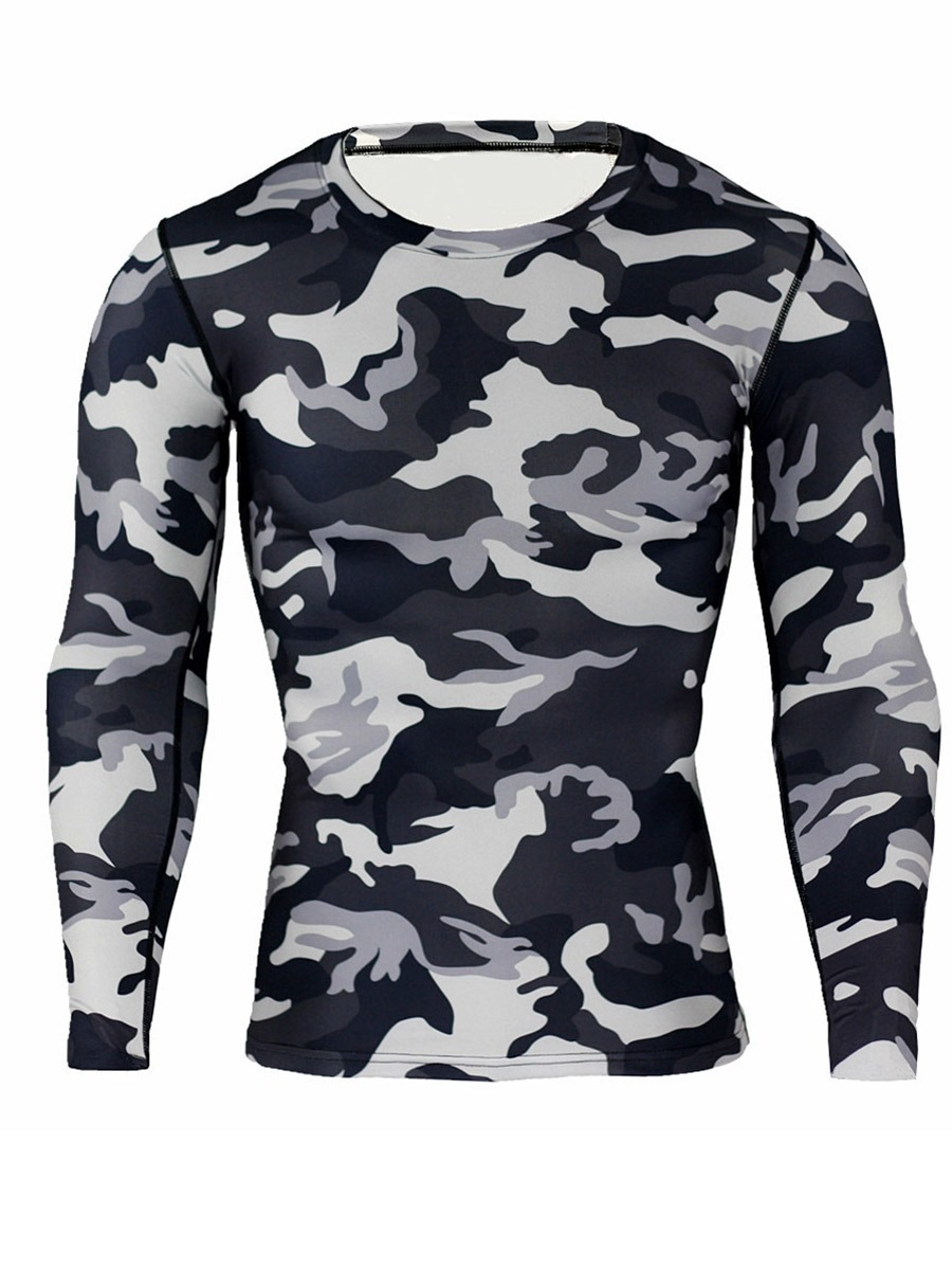 Ericdress Men Camouflage Breathable Patchwork Long Sleeve Sport Tops