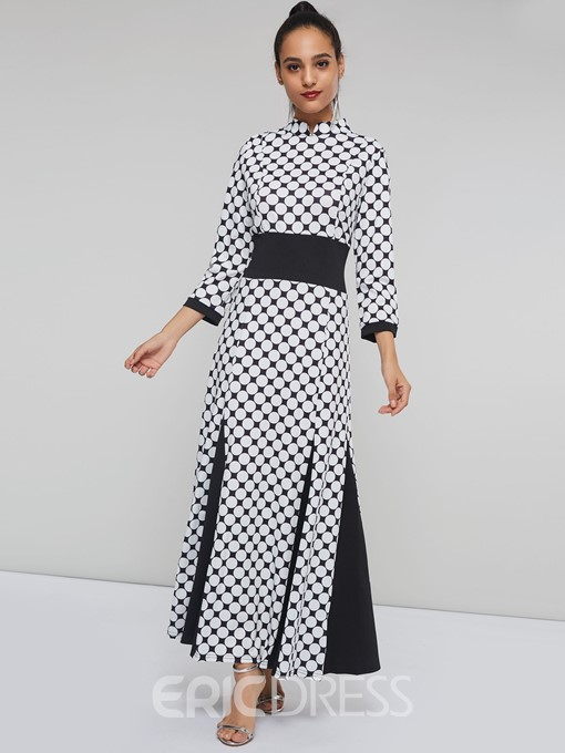 Ericdress Stand Collar Polka Dots Color Block Maxi Dress