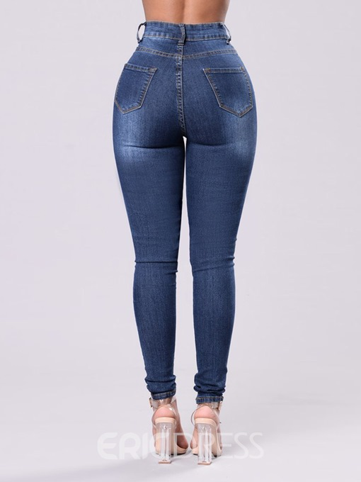 Ericdress Ripped Washable Plain Women's Jeans