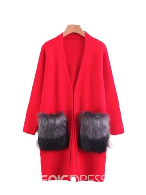 Ericdress Loose Patchwork Fur Thick Long Sleeves Trench Coat