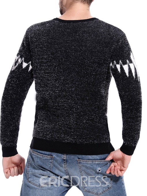 Ericdress Patchwork Slim Mens Casual Pullover Sweaters