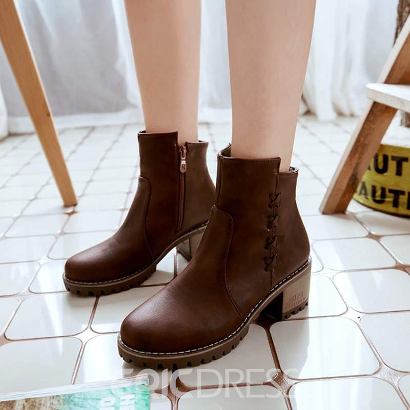 Ericdress Plain Round Toe Side Zipper Women's Ankle Boots