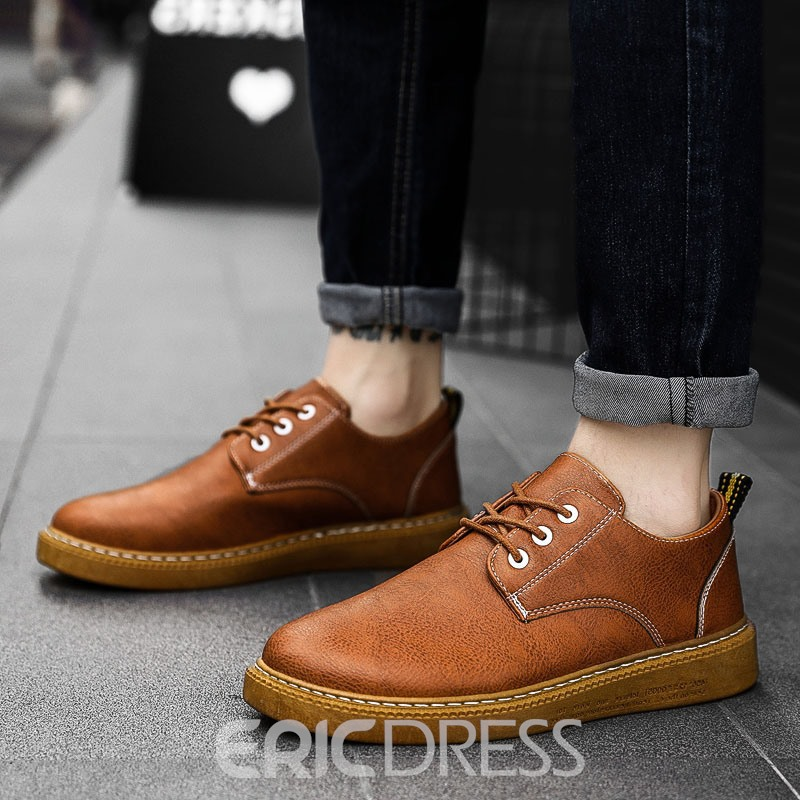 Ericdress PU Round Toe Lace-Up Men's Casual Shoes