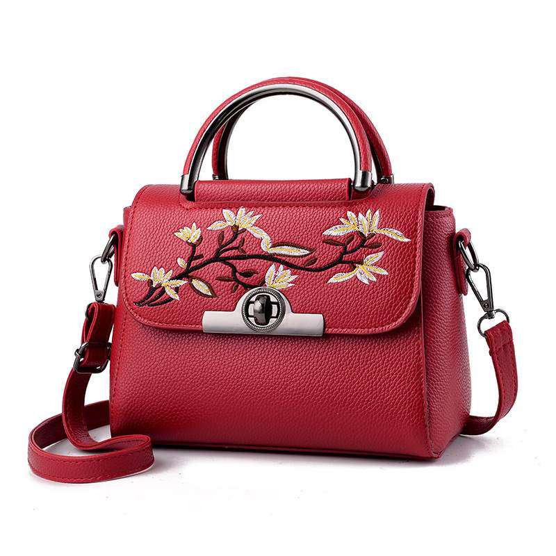 Ericdress PU Floral Square Embroidery Tote Bags