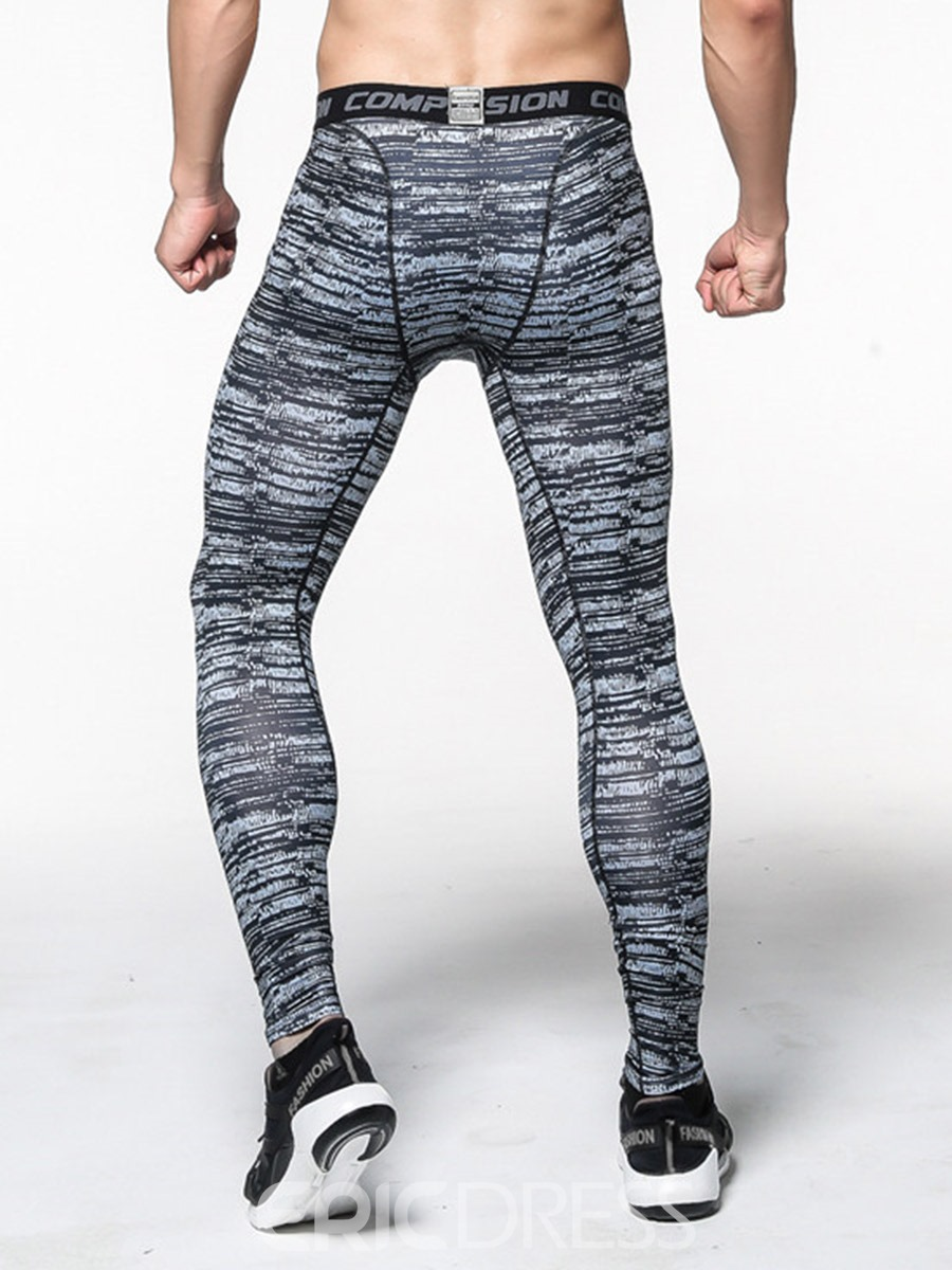 Ericdress Men Stripe Quick Dry Print Ankle Length Sport Pants
