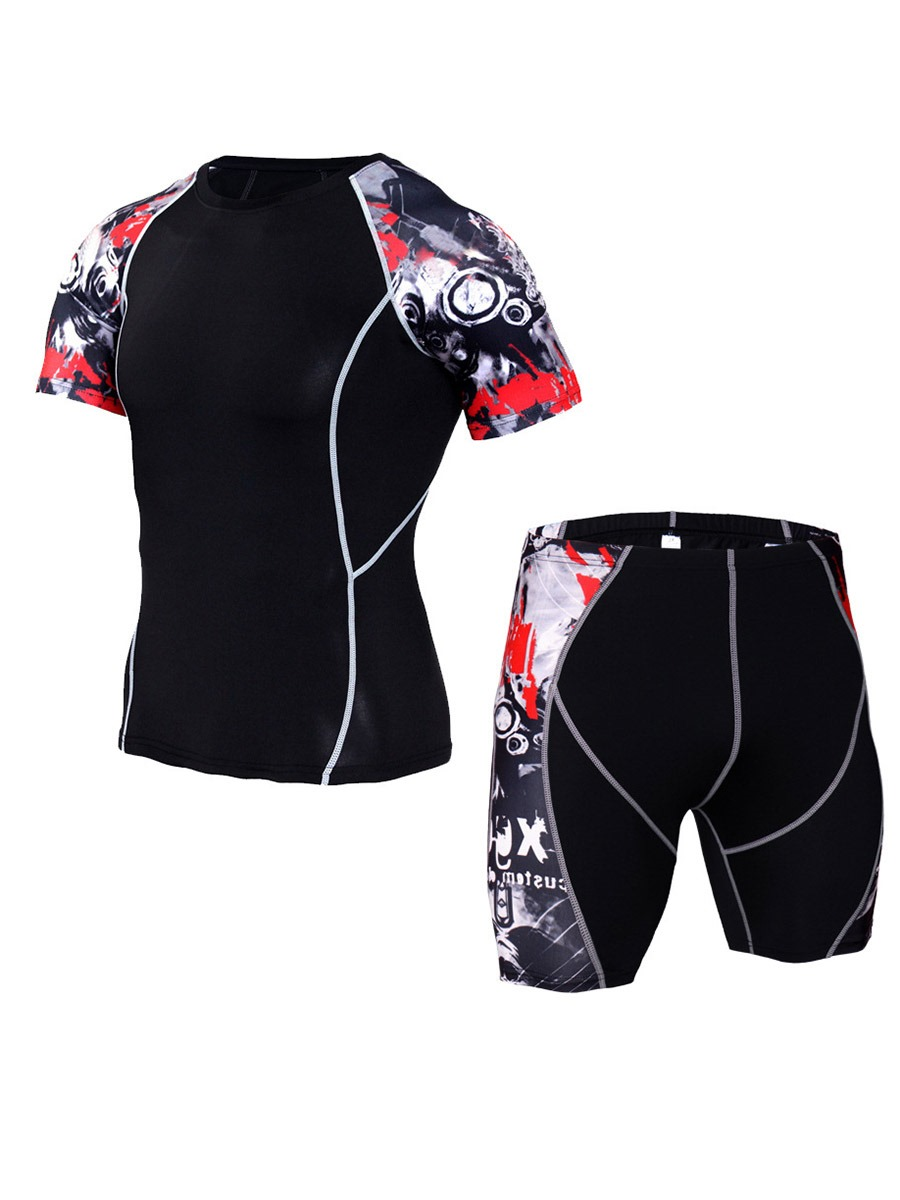 Ericdress Men Breathable Print Pullover Short Sleeve Sport Sets