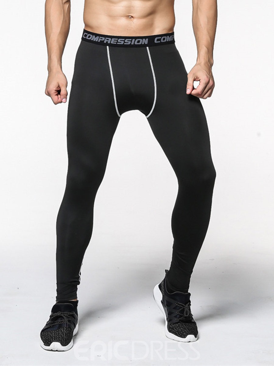Ericdress Men Anti-Sweat Color Block Polyester Sport Leggings