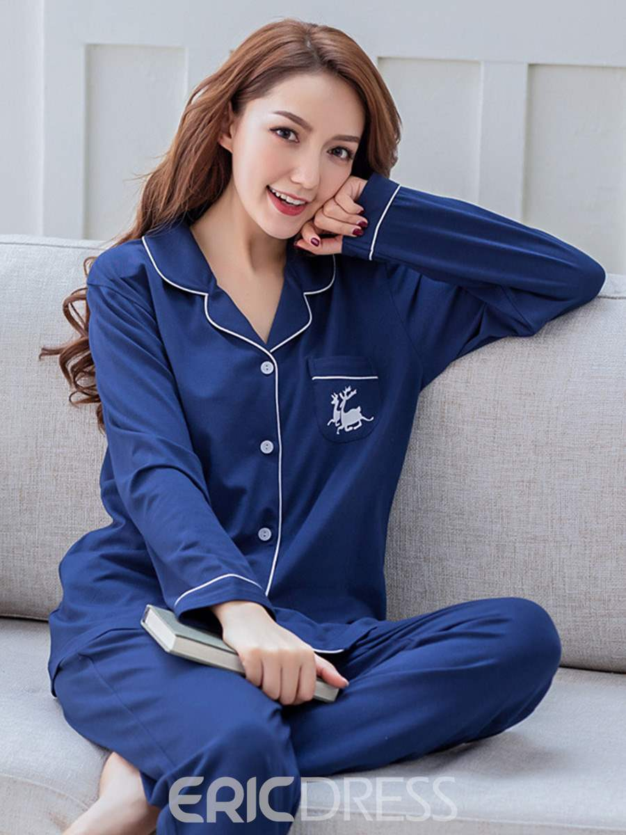 Ericdress Animal Single-Breasted Thin Women's Pajama Set