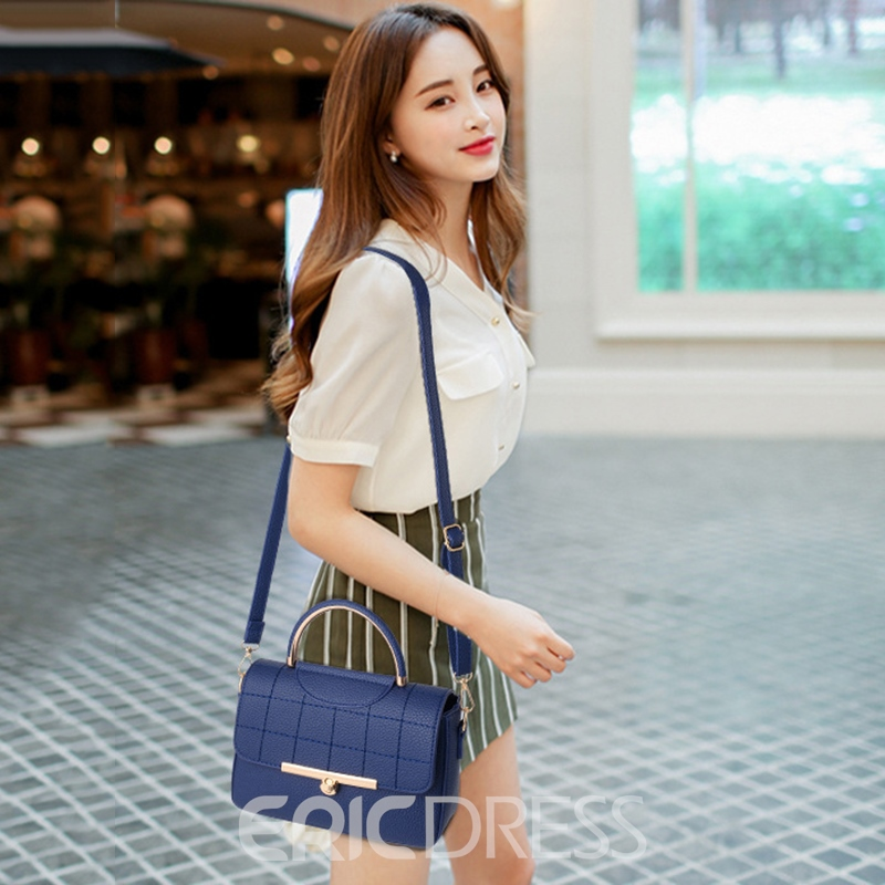 Ericdress PU Plain Flap Quilted Lining Tote Bags