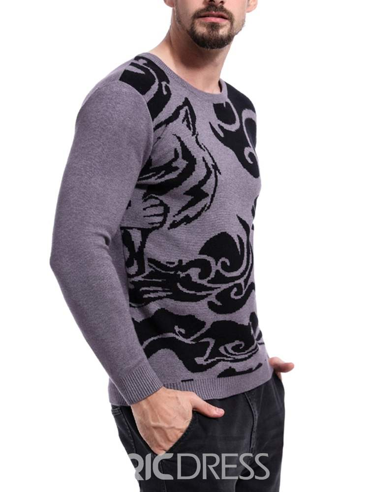 Ericdress Color Block Geometric Pattern Mens Casual Sweaters