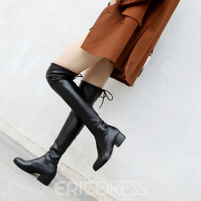 Ericdress Round Toe Lace-Up Back Over The Knee Boots